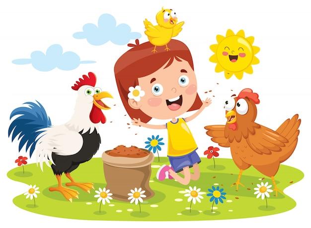 Маленькая девочка кормит петуха, курицу и цыпленка