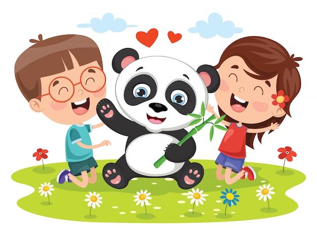 パンダと遊ぶ小さな子供たち
