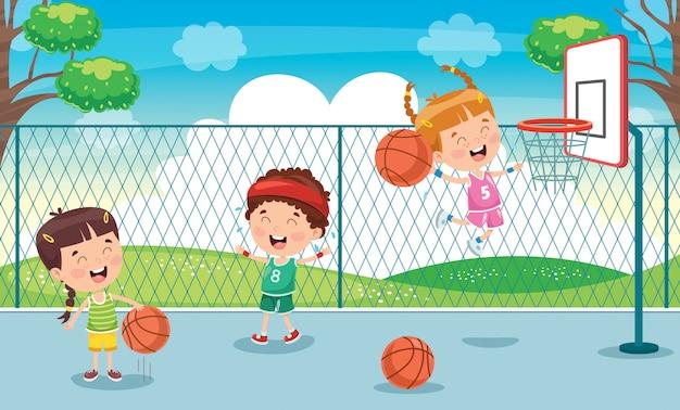 Маленькие дети играют в баскетбол на улице