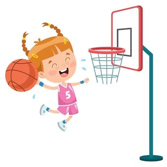 Маленький ребенок играет в баскетбол на улице