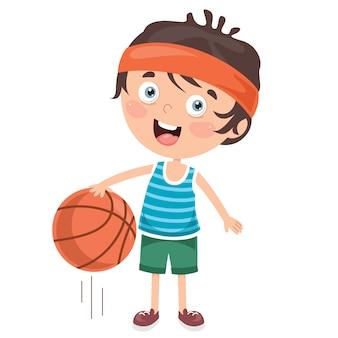 Маленький ребенок играет в баскетбол
