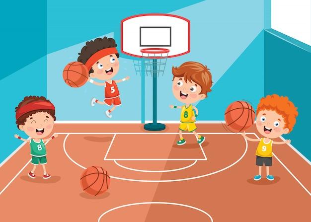 Маленькие дети играют в баскетбол
