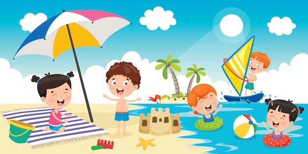 ビーチで遊んでいる小さな子供たち