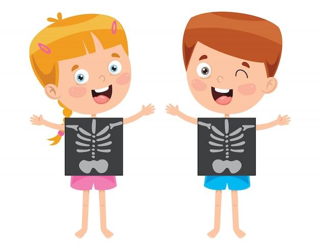 Маленький ребенок показывает рентген