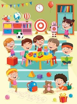 幼稚園の教室で勉強して遊んでいる小さな子供たち
