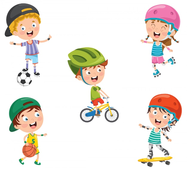 Маленькие счастливые дети занимаются спортом