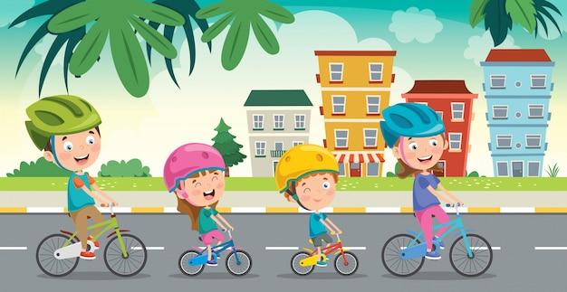 Счастливая семья катается на велосипеде вместе