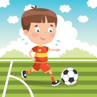 Маленький ребенок играет в футбол на улице