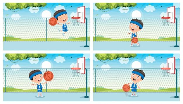 外でバスケットボールをしている小さな子供