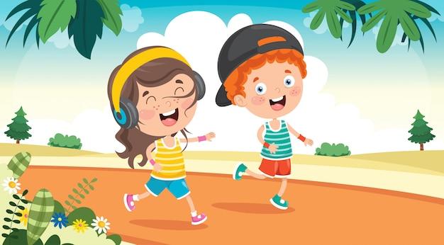 Забавные маленькие дети бегают на улице