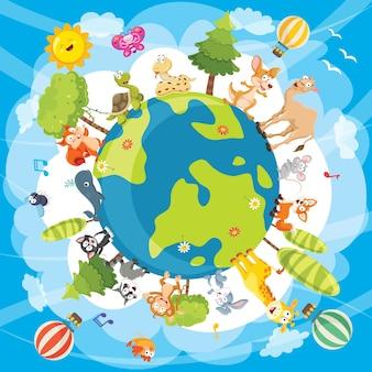 世界動物のベクトル図