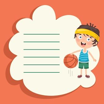 スポーツを作るかわいい漫画のキャラクターとテンプレートデザイン