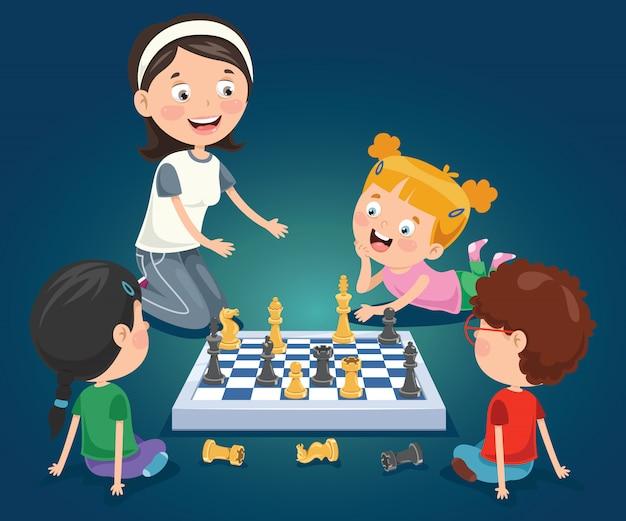 Мультипликационный персонаж играет в шахматы