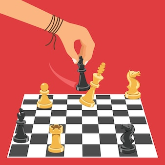 Человек играет в шахматы