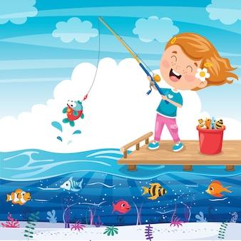 Счастливый маленький ребенок, рыбалка на пирсе