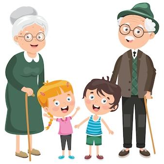 祖父母と小さな子供たち