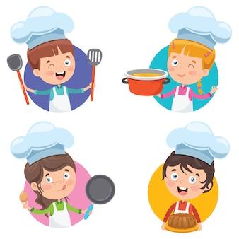 Счастливый милый маленький шеф-повар кулинария