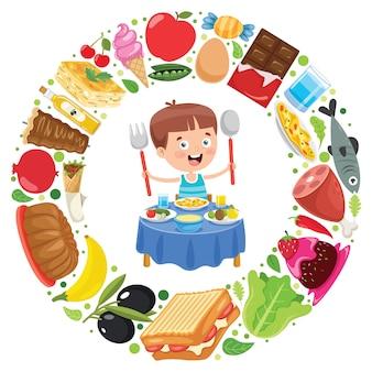 おいしい食べ物を食べる小さな子供