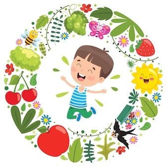 小さな子供と自然の要素