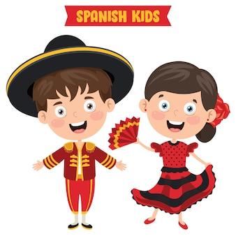 伝統的な服を着ているスペインの子供たち