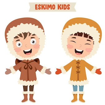 伝統的な服を着ているエスキモーの子供たち