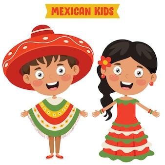 伝統的な服を着ているメキシコの子供たち