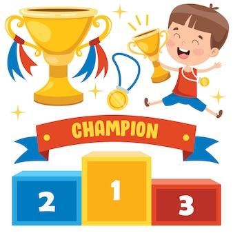 Маленький ребенок празднует победу в чемпионате
