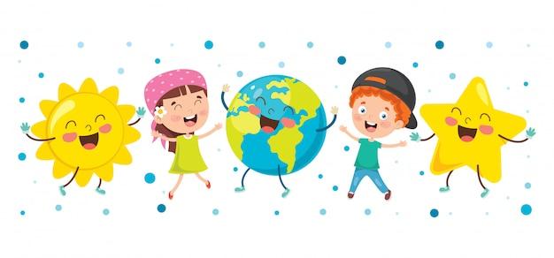 Маленькие дети играют с глобусом