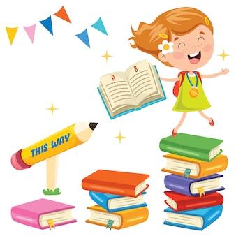 Милый школьник и красочные книги