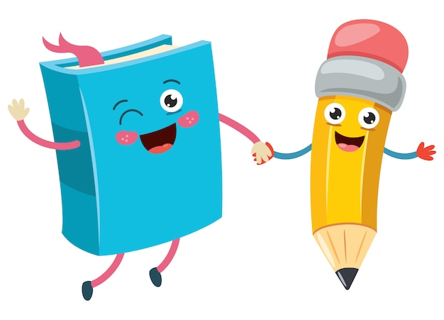 Мультфильм маленький смешной карандаш и книга