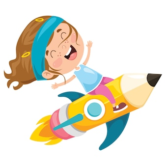 Маленький студент летит с карандашом