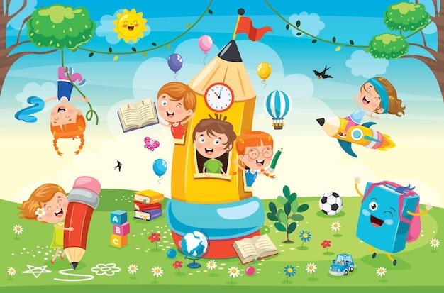 鉛筆の家で遊ぶかわいい子供たち