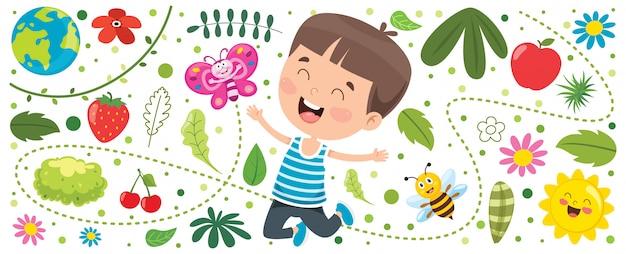 Баннер с маленьким ребенком на природе