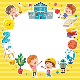 面白い子供たちとカラフルなテンプレート