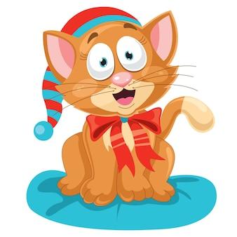 Милая смешная маленькая кошка позирует