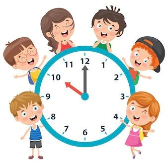 時計を保持している小さな子供たち