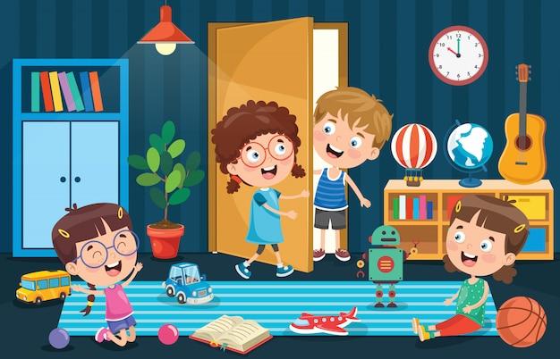 Маленькие дети играют в комнате