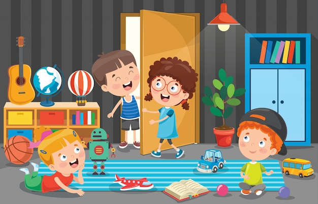 部屋で遊んでいる小さな子供たち