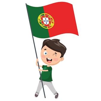 ポルトガルの国旗を収めた子供のイラスト