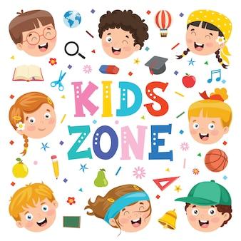 面白い子供たちと創造的な背景