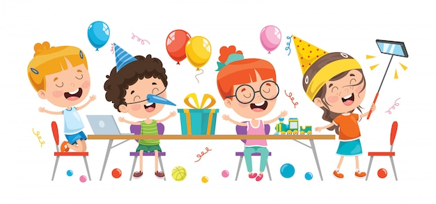 Группа маленьких детей, устраивающих вечеринки