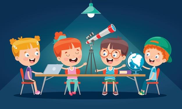 教室で勉強している小さな子供たち