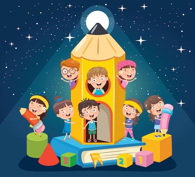 小さな子供たちと教育コンセプトデザイン