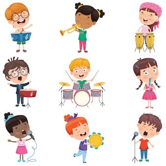 さまざまな楽器を演奏する小さな子供たち