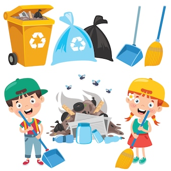Забавный малыш, очищающий окружающую среду