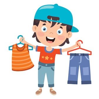 小さな子供とカラフルな服