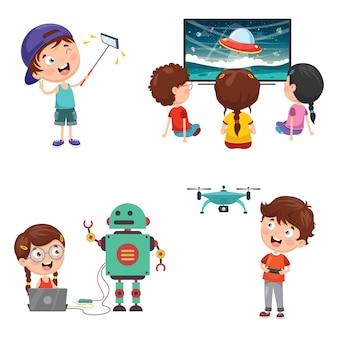 Векторная иллюстрация детской технологии