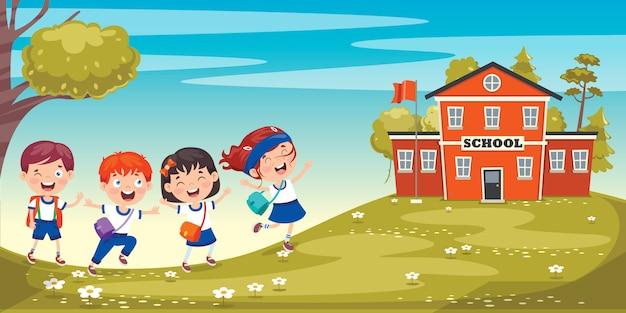 幸せなかわいい漫画の学校の子供たち