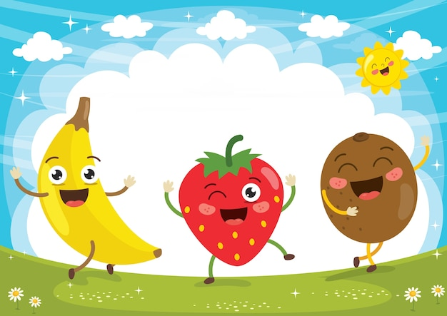 Векторная иллюстрация фруктовых персонажей