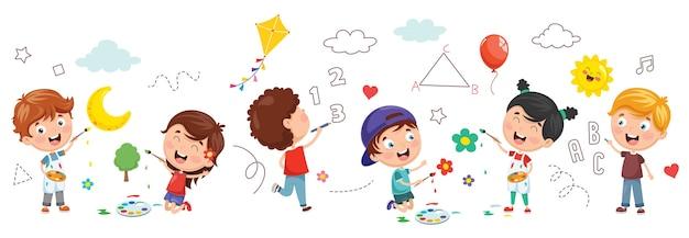 子供たちの絵画のベクトル図